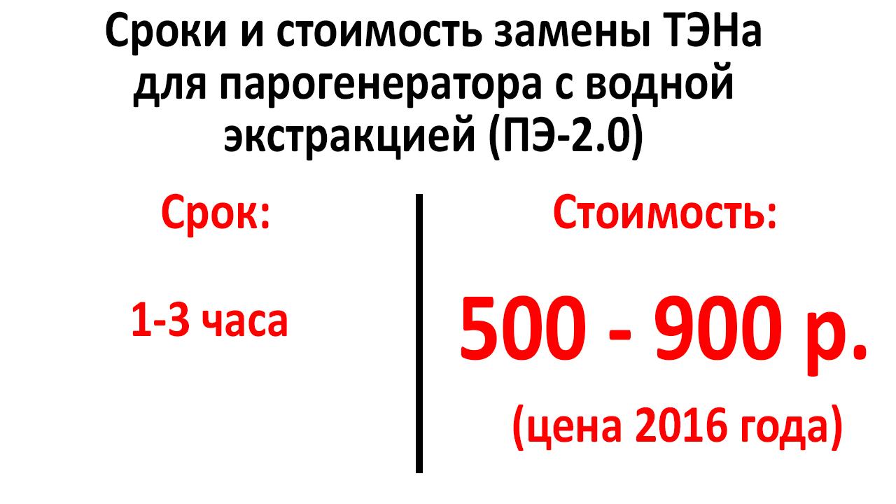 Цена и сроки замены ТЭНа парогенератора ПЭ-2.0