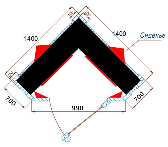 двухместная угловая инфракрасная сауна
