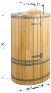 Размеры кедровой овальной фитобочки