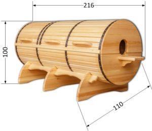 Размеры лежачей кедровой бочки