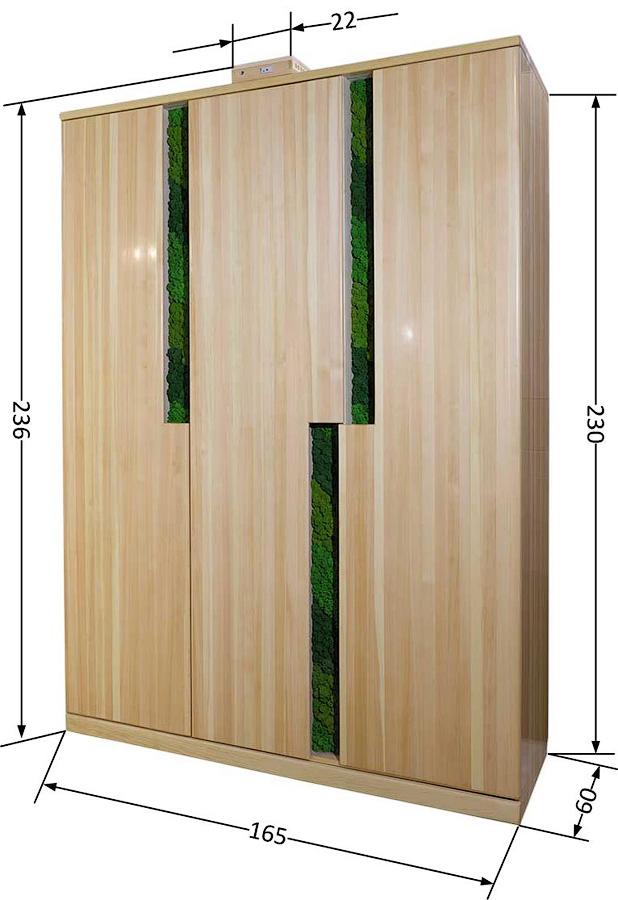 Размеры кедрового шкафа с подсветкой