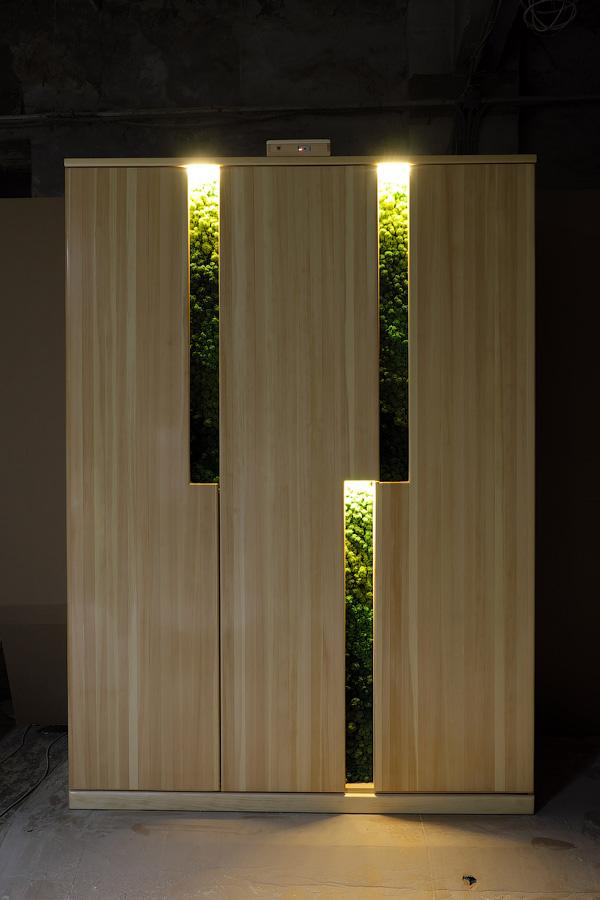 Подсвеченный платяной шкаф из массива кедра