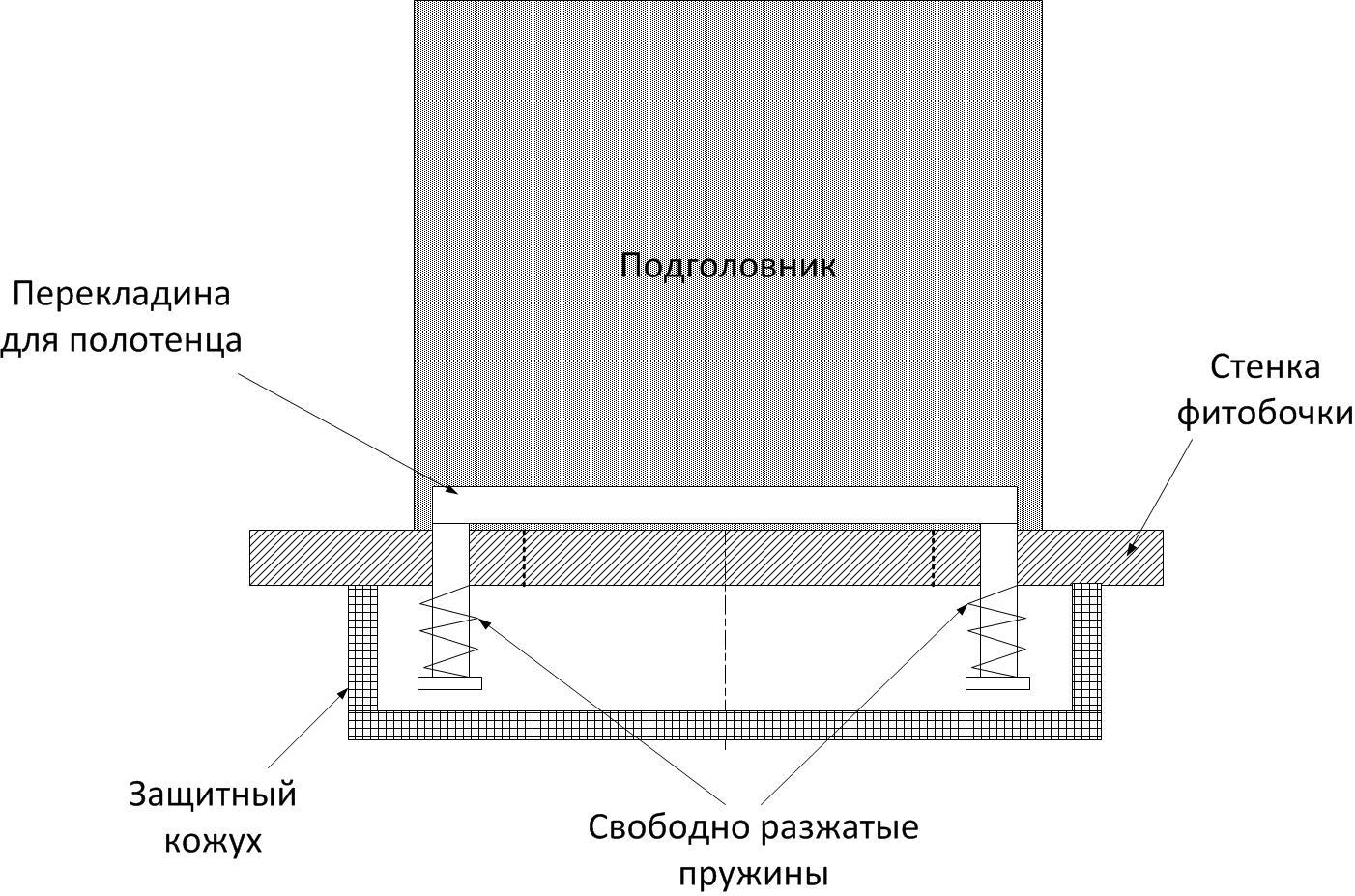 Вариант фиксатора для горизонтальной фитобочки