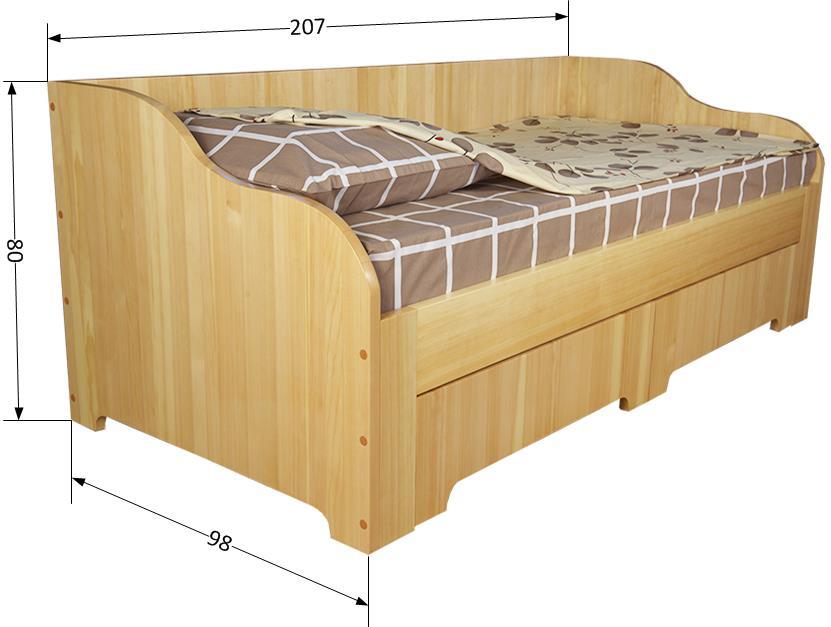 Размеры односпальной кровати из массива кедра