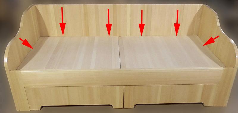 Подматрасник 1спальной кровати из массива