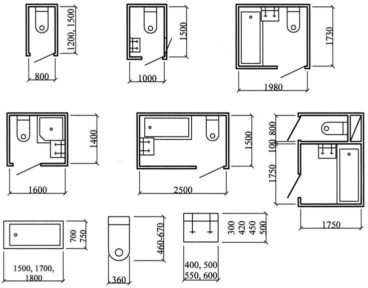 размеры ванных комнат и совмещенных санузлов